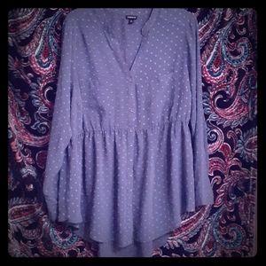 Torrid size 1 light blue sheer blouse